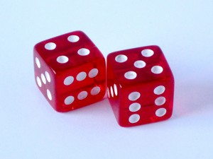 Two red dice, one showing four and the other showing five.